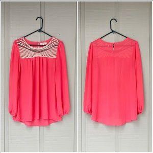 •- UMGEE Crochet Tunic Blouse Long Sleeve Top H22